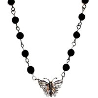 Flower Petal Bead and Butterfly necklace