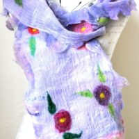 Merino, Silk and Flowers felted scarf