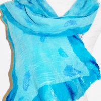 Turquoise Feather Merino and Silk scarf