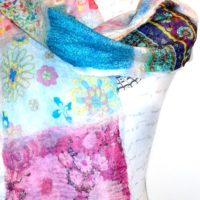 Silk Fabric and Merino and Silk felted scarf